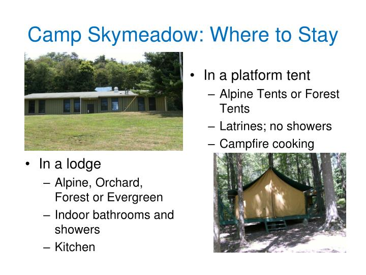 Camp Skymeadow: Where to Stay