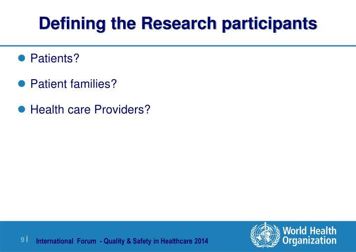 Defining the Research participants