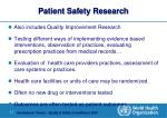 patient safety research