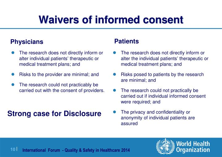 Waivers of informed consent