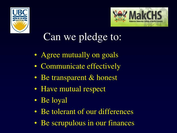Can we pledge to: