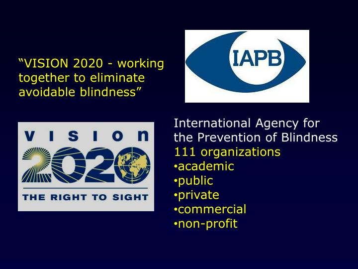 """VISION 2020 - working together to eliminate avoidable blindness"""