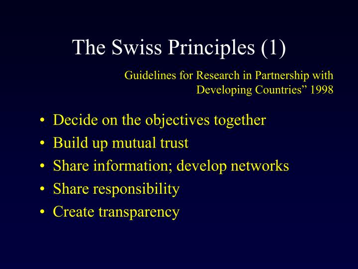 The Swiss Principles (1)