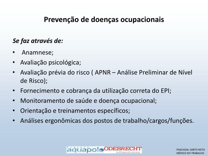 Prevenção de doenças ocupacionais