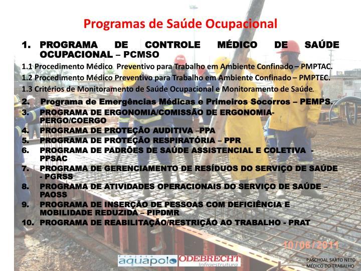 Programas de Saúde Ocupacional