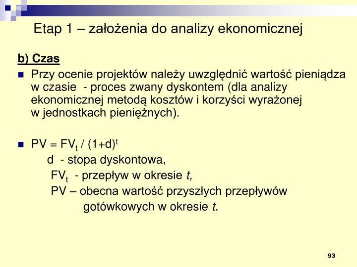 Etap 1 – założenia do analizy ekonomicznej