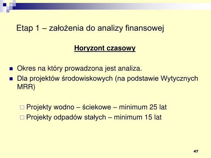 Etap 1 – założenia do analizy finansowej