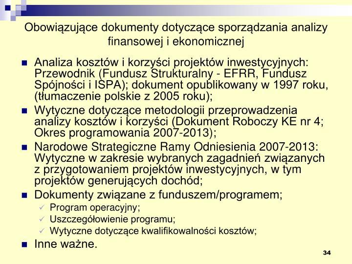 Obowiązujące dokumenty dotyczące sporządzania analizy finansowej i ekonomicznej