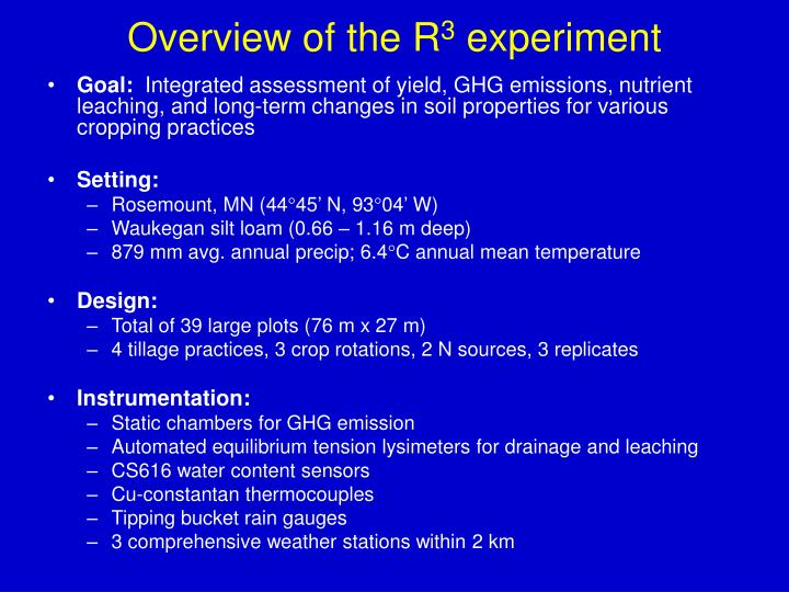 Overview of the r 3 experiment