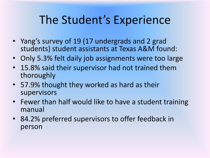 The Student's Experience