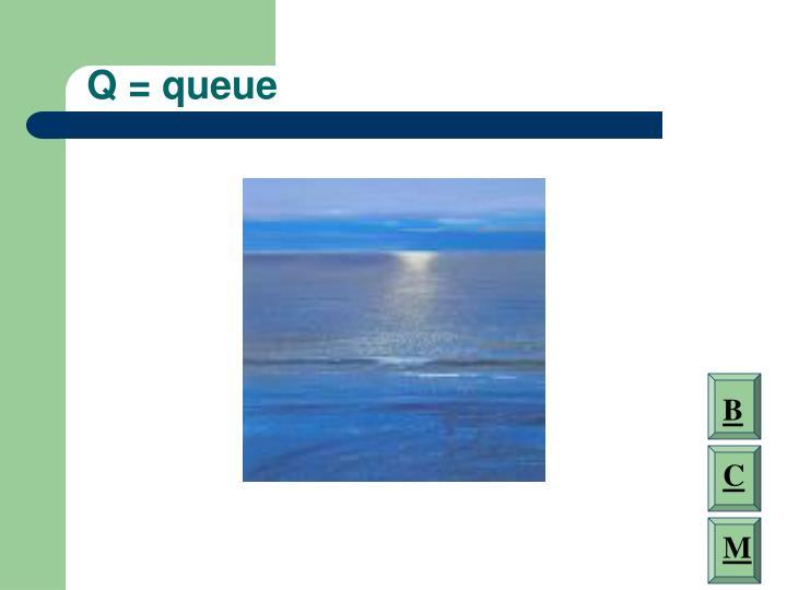 Q = queue