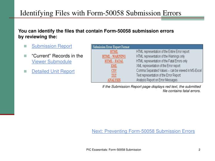 Identifying files with form 50058 submission errors