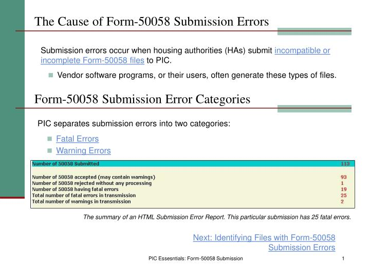 The cause of form 50058 submission errors
