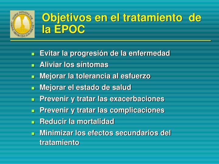 Objetivos en el tratamiento  de la EPOC