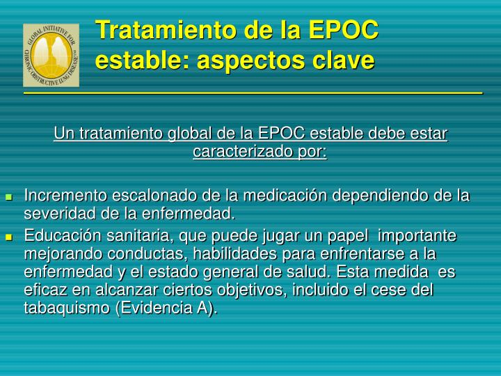 Tratamiento de la EPOC  estable: aspectos clave