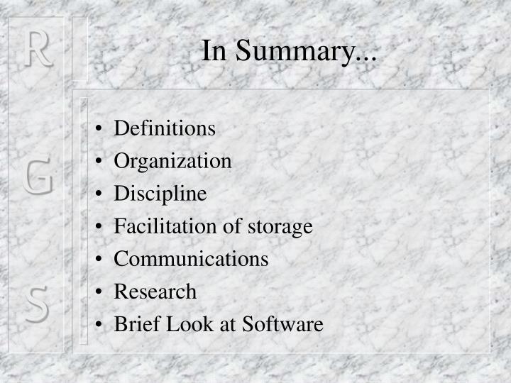 In Summary...