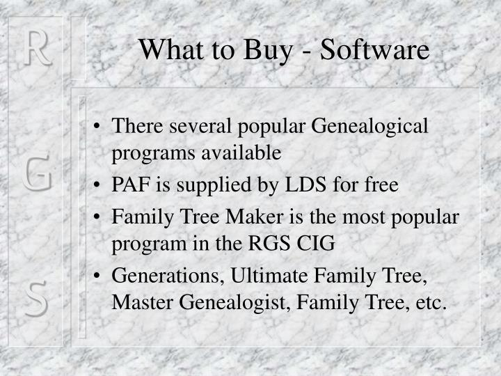 What to Buy - Software