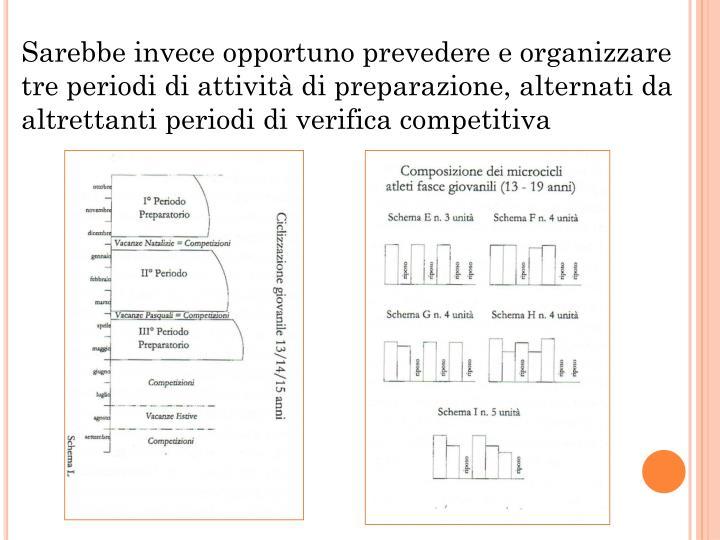Sarebbe invece opportuno prevedere e organizzare tre periodi di attività di preparazione, alternati da altrettanti periodi di verifica competitiva