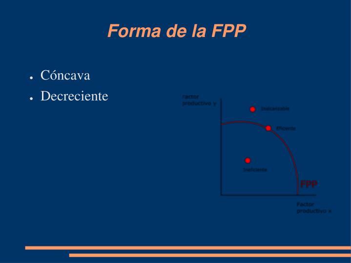 Forma de la FPP
