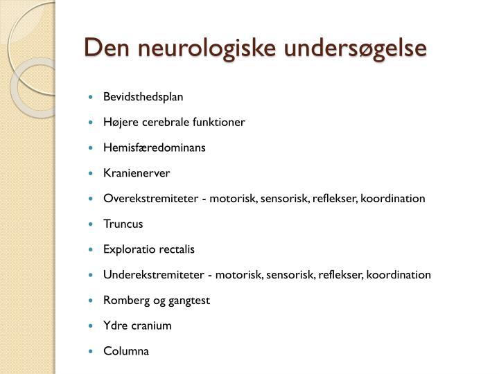 Den neurologiske undersøgelse