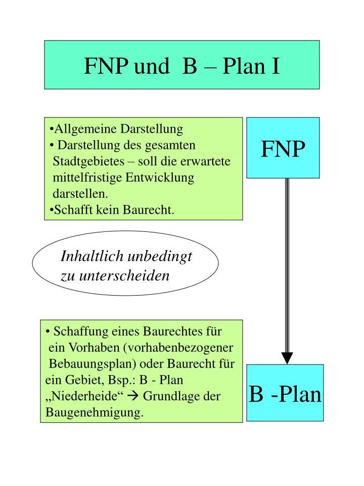 FNP und  B – Plan I
