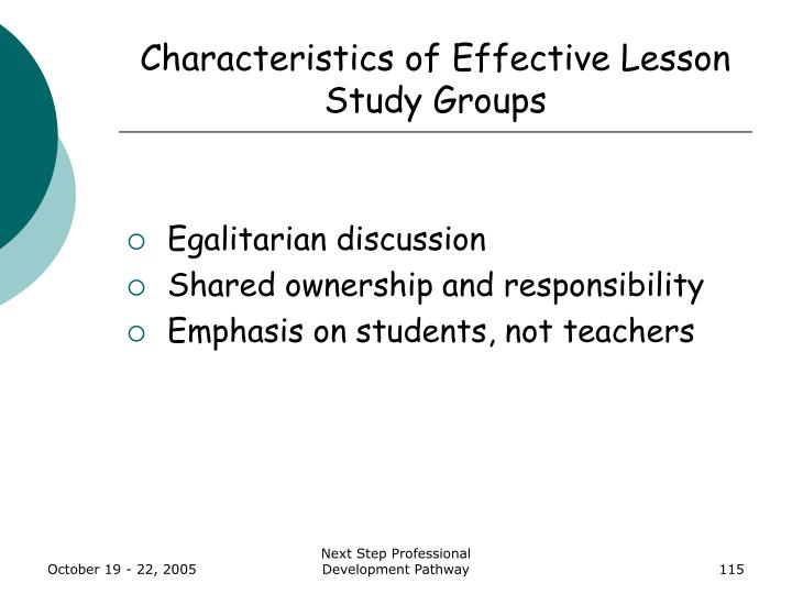 Characteristics of Effective Lesson Study Groups