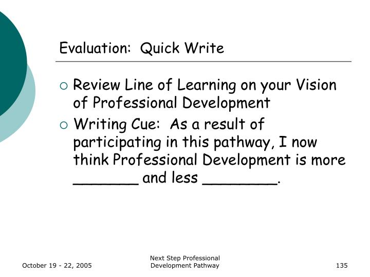 Evaluation:  Quick Write