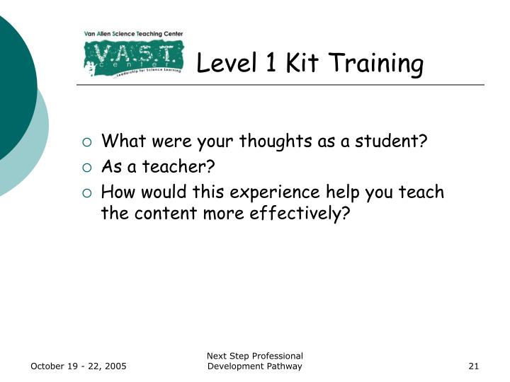 Level 1 Kit Training