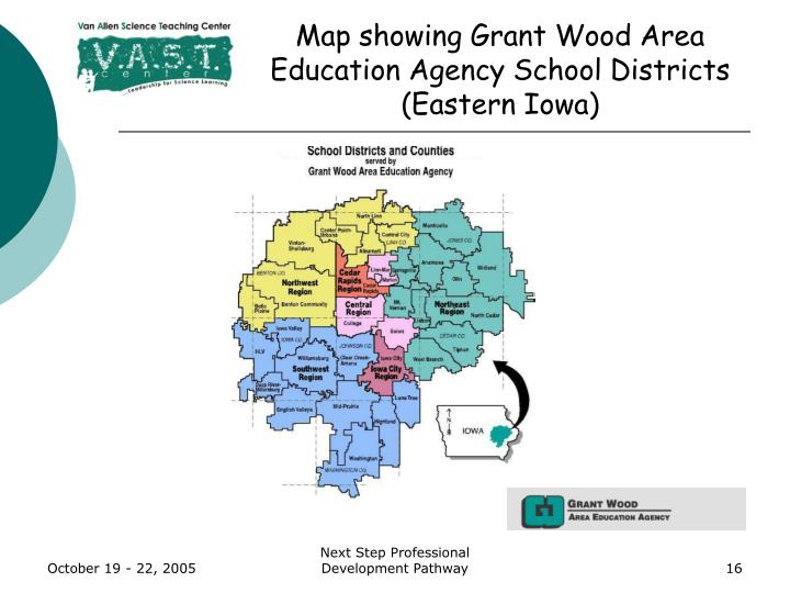 Map showing Grant Wood Area Education Agency School Districts (Eastern Iowa)