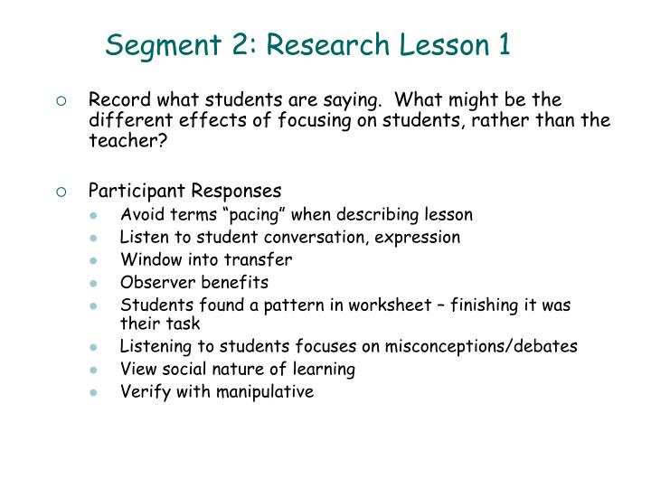 Segment 2: Research Lesson 1
