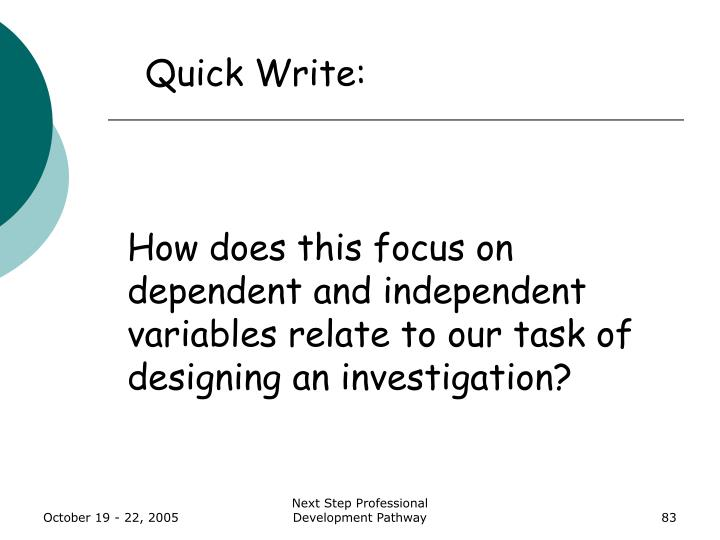 How does this focus on dependent and independent variables relate to our task of designing an investigation?