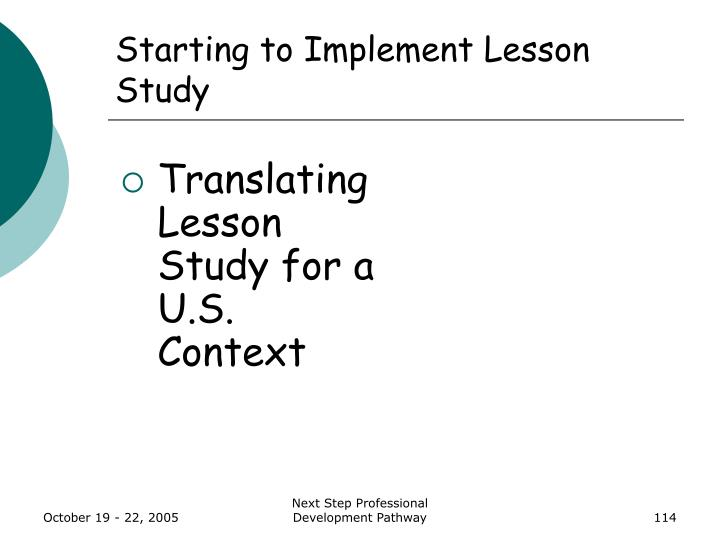 Starting to Implement Lesson Study