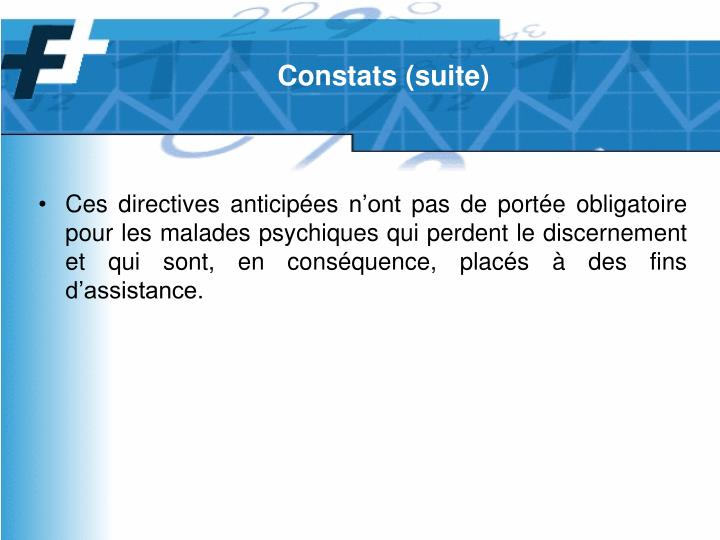Constats (suite)