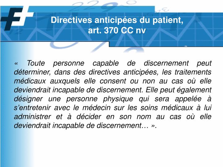 Directives anticipées du patient,