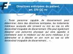 directives anticip es du patient art 370 cc nv