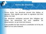 forme des directives