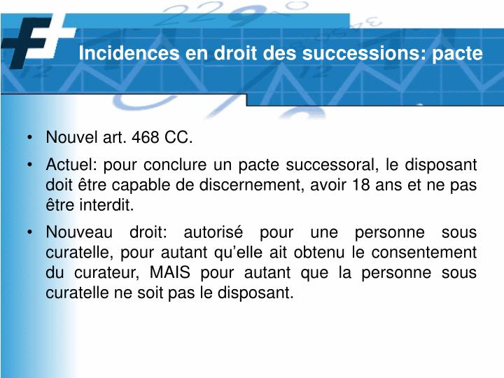 Incidences en droit des successions: pacte