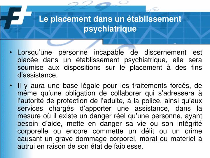 Le placement dans un établissement psychiatrique