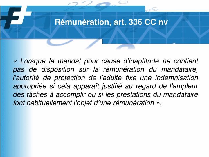 Rémunération, art. 336 CC nv