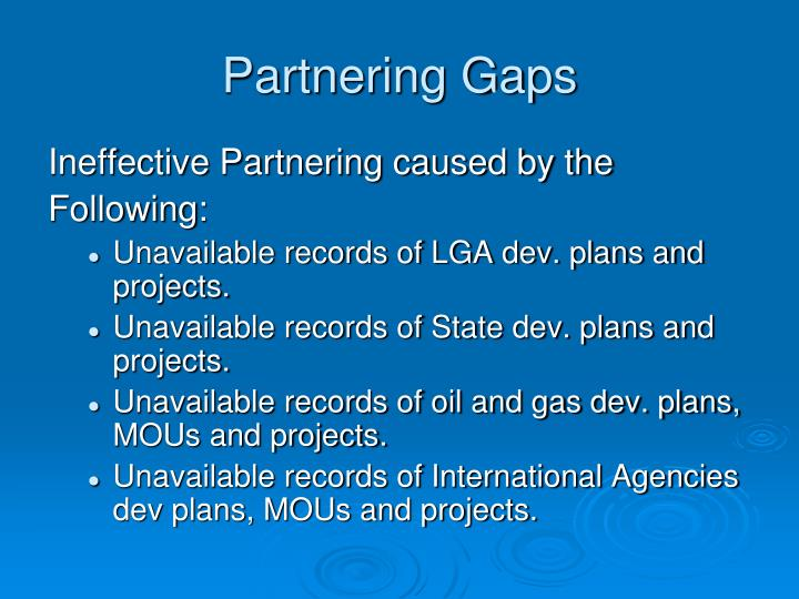 Partnering Gaps