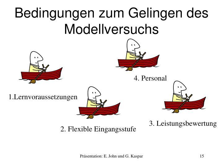 Bedingungen zum Gelingen des Modellversuchs