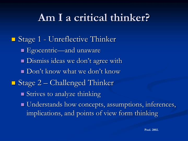Am I a critical thinker?