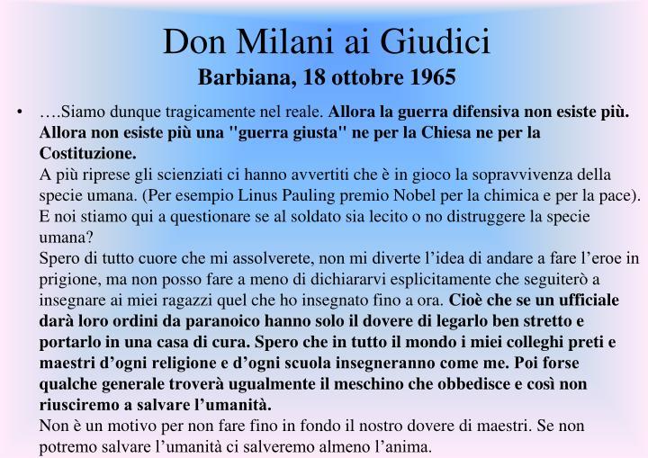 Don Milani ai Giudici