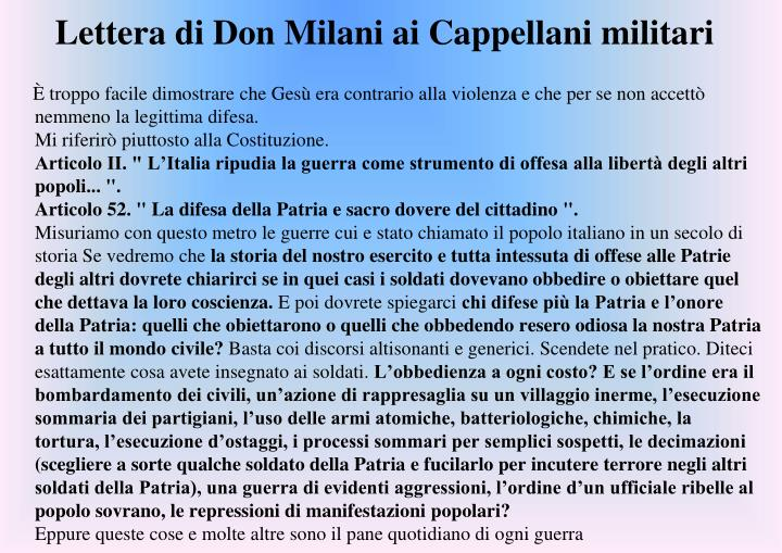 Lettera di Don Milani ai Cappellani militari