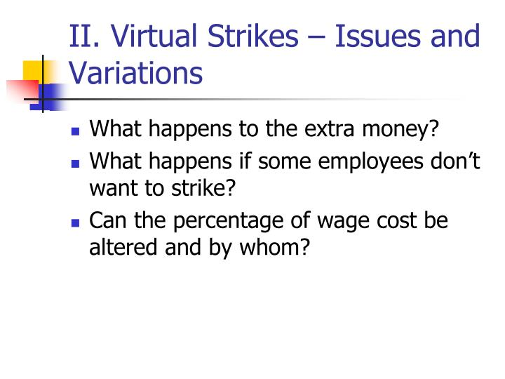 II. Virtual Strikes – Issues and Variations