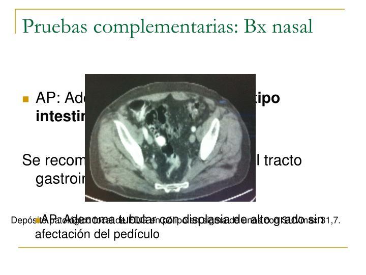 Pruebas complementarias: Bx nasal