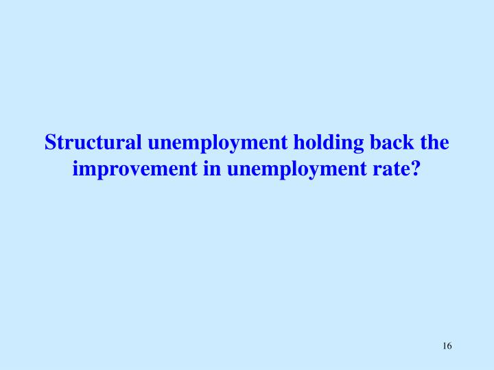 Structural unemployment holding back the improvement in unemployment rate?