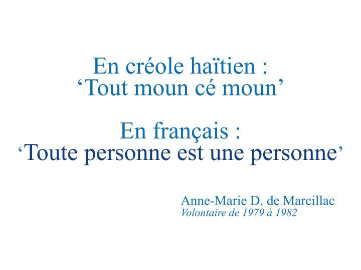 En créole haïtien :