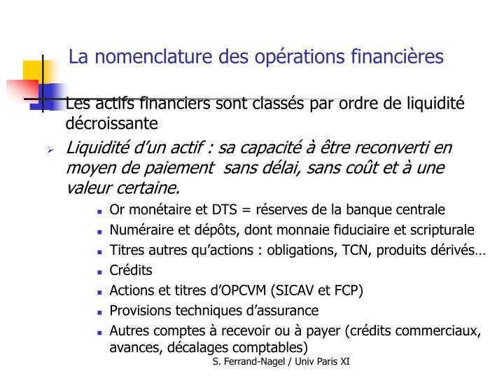 La nomenclature des opérations financières