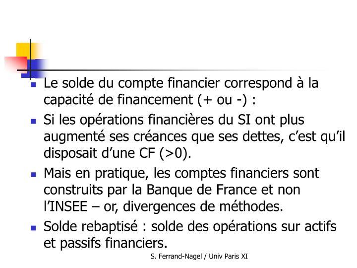 Le solde du compte financier correspond à la capacité de financement (+ ou -) :